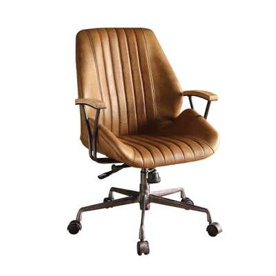 Hamilton Coffee Leather Top Grain Leather Office Chair - Home Depot