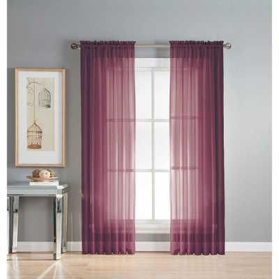Window Elements Sheer Diamond Sheer 56 in. W x 90 in. L Rod Pocket Extra Wide Curtain Panel in Plum (Purple) - Home Depot