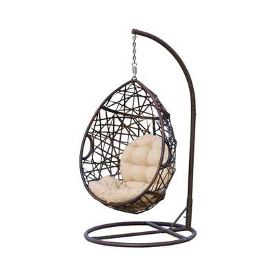 Noble House Stefanie Brown Wicker Patio Swing with Beige Cushion - Home Depot