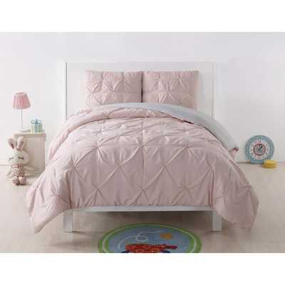Anytime Pleated Blush Full/Queen Comforter Set, Blush And Silver Grey - Home Depot
