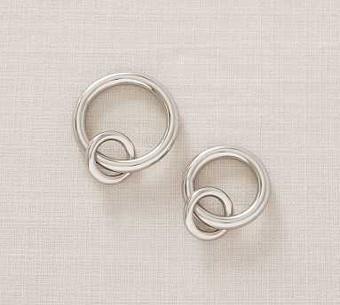 PB Standard Round Rings, Set of 10, Large, Polished Nickel Finish - Pottery Barn