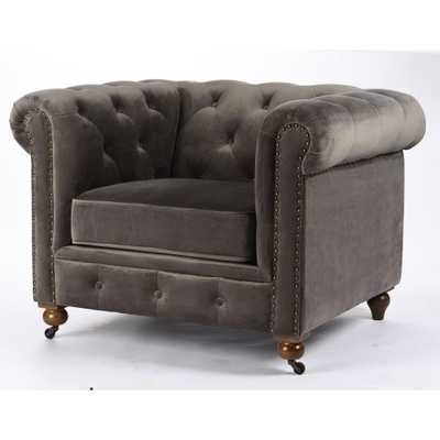 Gordon Grey Velvet Arm Chair - Home Depot