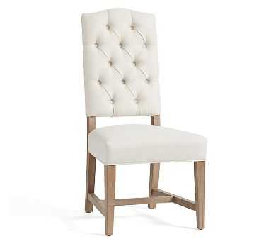 Ashton Upholstered Tufted Dining Side Chair, Gray Wash Frame, Basketweave Slub Oatmeal - Pottery Barn