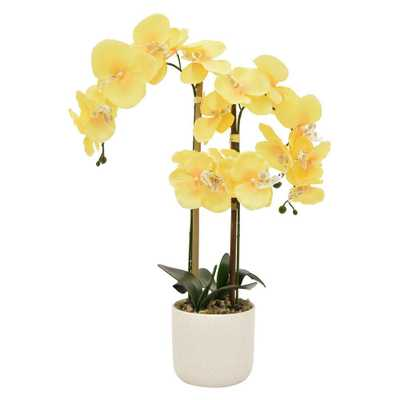 24 in. Faux Orchid Flower Pot in Yellow - Home Depot