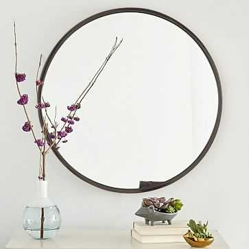 Metal Framed Round Mirror, Antiqued Bronze - West Elm
