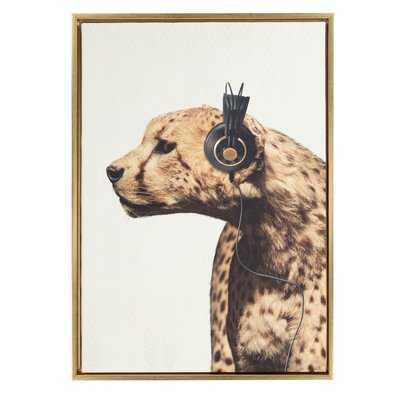 'Cheetah Wearing Headphones Animal' Framed Graphic Art Print on Wrapped Canvas - AllModern