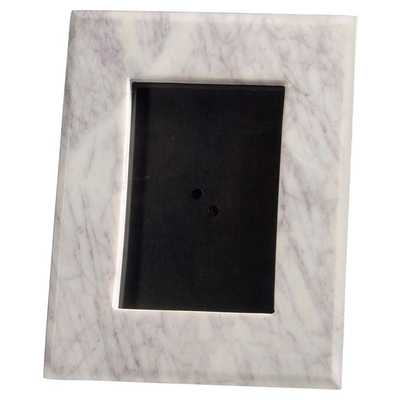 Bianca Modern Classic 5x7 Purple & White Marble Photo Frame - Small - Kathy Kuo Home