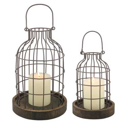 11.5 in. Brown Weathered Metal Lantern with Wood Base (Set of 2) - Home Depot