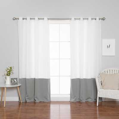 Best Home Fashion 84 in. L Polyester Oxford Dove Colorblock Curtains in White (2-Pack) - Home Depot
