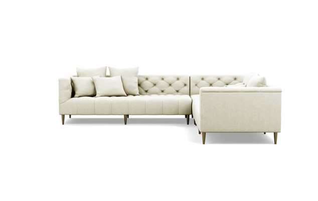 Ms. Chesterfield Corner Sectionals with Vanilla Fabric and Brass Plated legs - Interior Define