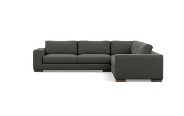 Henry Corner Sectional with Charcoal Fabric and Oiled Walnut legs - Interior Define