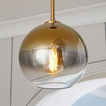 Sculptural Glass Shade, Small Globe, Gold Ombre - West Elm