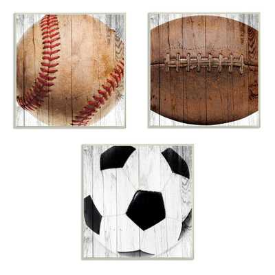 "12 in. x 12 in. ""Baseball Football Soccer Wood Planks"" by Brandi Fitzgerald PrintedWood Wall Art, Multi-Colored - Home Depot"