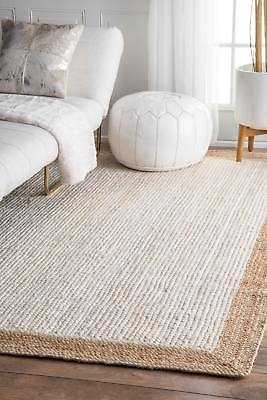 nuLOOM Contemporary Modern Simple Border Natural Jute Area Rug in White and Tan: 6' x 9' - eBay