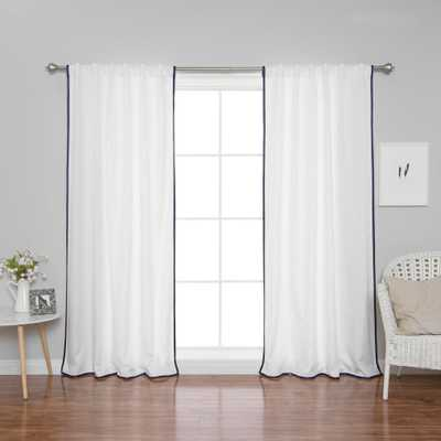 Best Home Fashion 96 in. L Polyester Oxford Thin Navy Border Curtains in White (2-Pack) - Home Depot