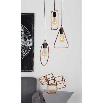 12 in. Silver Pendant Light with 3-Geometric Tube Frame - Home Depot