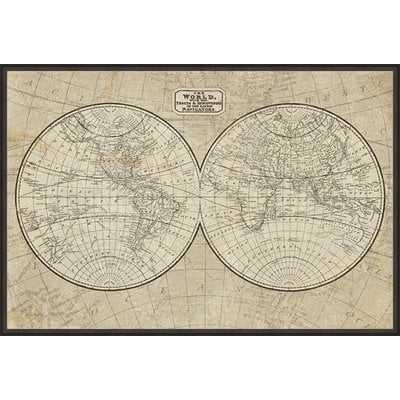 'World Map' Framed Acrylic Painting Print on Canvas - Wayfair