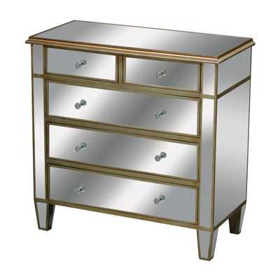 Verona 5-Drawer Champagne Silver Leaf and Clear Mirror Chest, Clear Mirror/Champagne Silver Leaf - Home Depot