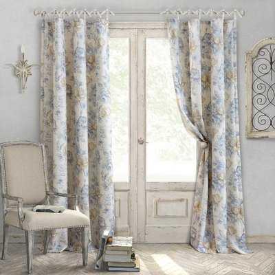 Annalise Nature/Floral Semi-Sheer Tab Top Single Curtain Panel - Birch Lane