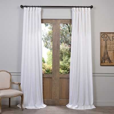 Exclusive Fabrics & Furnishings Heavy Faux White Polyester Linen Room Darkening Curtain - 50 in. W x 96 in. L - Home Depot