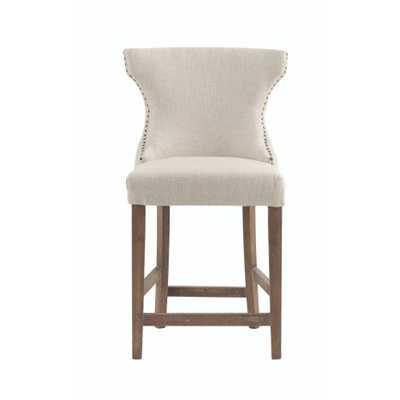 Scarlett 24 in. Natural Textured Cushioned Counter Stool - Home Depot