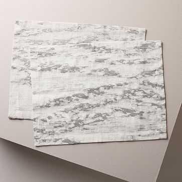 Bark Textured Jacquard Placemat Set of 2, Platinum, Bark Border - West Elm