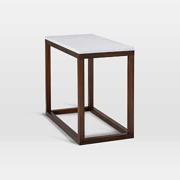 Wood Frame Side Table, Dark Mineral/Marble - West Elm