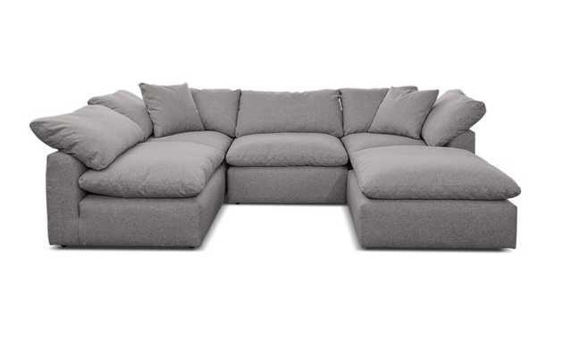 Gray Bryant Mid Century Modern U-Sofa Bumper Sectional (5 piece) - Taylor Felt Grey - Joybird