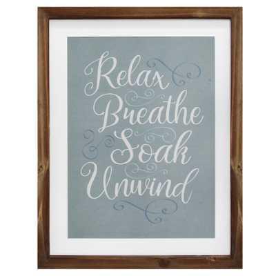 Relax, Breathe, Soak, Unwind Framed Bath Art, Natural/Blue And White - Home Depot