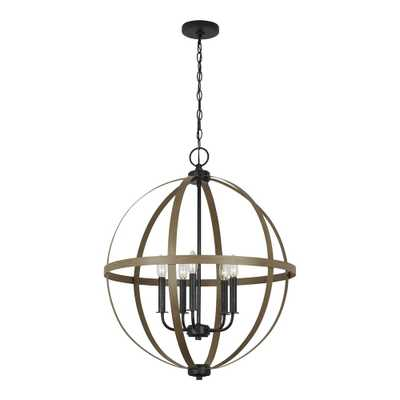 Sea Gull Lighting Calhoun 24 in. 5-Light Stardust Orb Chandelier with Distressed Oak Finish - Home Depot