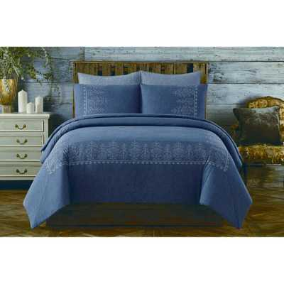 Chambray Cotton Blue King Comforter Set - Home Depot