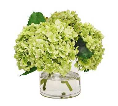 Faux Green Hydrangea In Glass Vase - Pottery Barn