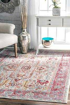 """nuLOOM Traditional Vintage Persian Area Rug in Red, Blush Pink, Blue Multi: 7' 10"""" x 10' 10"""" - eBay"""