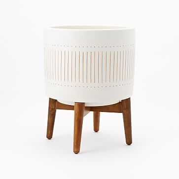 Mid Century Turned Wood Leg Planter, White + Gold, Wide - West Elm