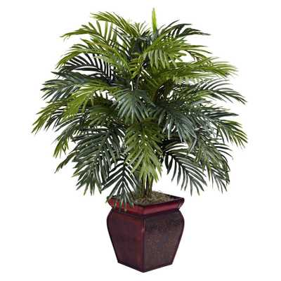 38 in. H Green Areca with Decorative Planter Silk Plant - Home Depot