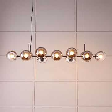 Staggered Glass Chandelier Shade -12 Lights, Antique Bronze/Silver - West Elm