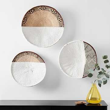 Two-Tone Zimbabwe Wall Baskets, Set of 3 - West Elm