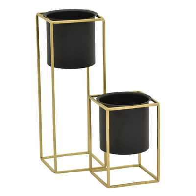 THREE HANDS 13 in. Black Metal Flower Pot Stand (Set of 2) - Home Depot