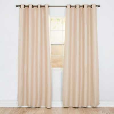 Lavish Home Blackout Linen Look Champagne Polyester Blackout Curtain - Home Depot