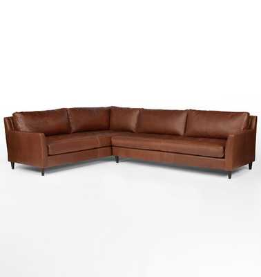Hastings Arm Sectional Leather Sofa, Pure Saddle - Rejuvenation