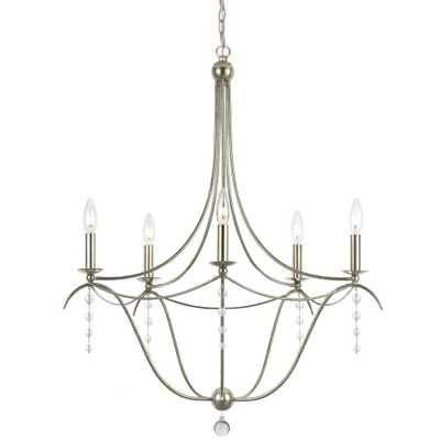 Crystorama Hdc 5-Light Antique Silver Chandelier - Home Depot