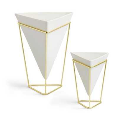 White Trigg Ceramic Tabletop Small Plus Large Planter (2-Set), White/Brass - Home Depot
