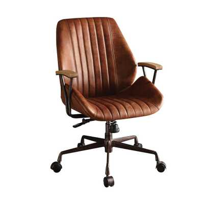 Hamilton Cocoa Leather Top Grain Leather Office Chair - Home Depot