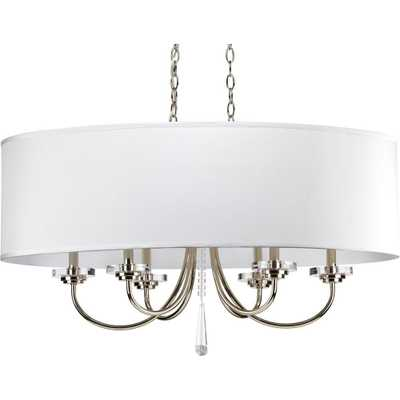Progress Lighting Nisse Collection 6-Light Polished Nickel Chandelier with Off-White Silk Shade - Home Depot