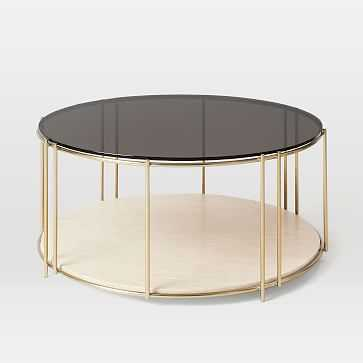 Messina Coffee Table, White Marble, Brass - West Elm