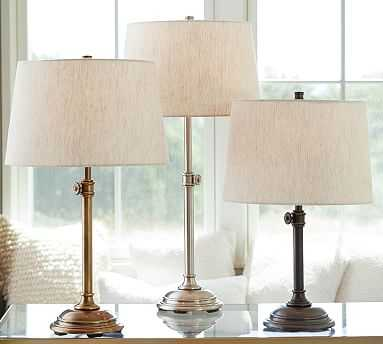 Chelsea Table Lamp & Tapered Drum Linen Shade, Bronze/Flax Linen, Medium - Pottery Barn