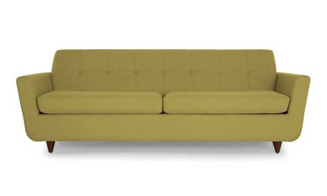 Green Hughes Mid Century Modern Sleeper Sofa - Key Largo Grass - Mocha - Joybird