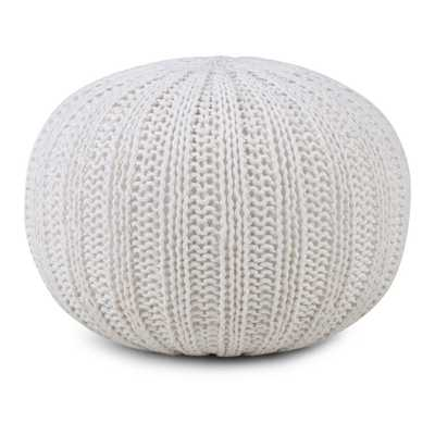 Shelby Cream (Ivory) Round Pouf - Home Depot