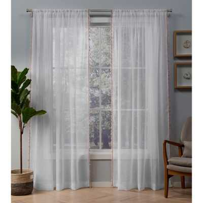 Exclusive Home Curtains Tassels Blush Rod Pocket Top Curtain Pair - Home Depot
