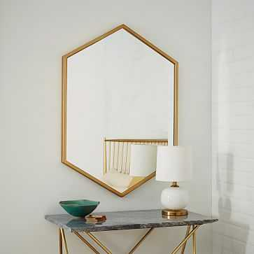 Metal Framed Hexagon Mirror, Antique Brass, UPS - West Elm